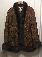 Newport News Coat Size 16 Paisley Faux Fur Penny Lane Almost Famous Jacket boho