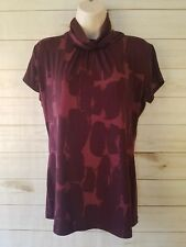 New York and Co. Short Sleeve Maroon Blouse Size Small