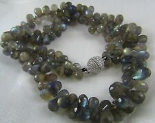 284ct NATURAL LABRADORITE FACETED BRIOLETTES BEAD NECKLACE MAGNETIC CLASP ATTACH