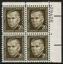 US USA Sc# 1289 MNH FVF PLATE # BLOCK General George Marshall WWII Untag