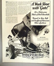 Wolverine Boot PRINT AD - 1930 ~~ work shoe, work gloves, boots, shoes
