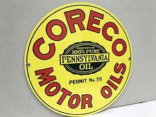 Coreco motor oils pensilvani oil gasoline gas metal Round  sign
