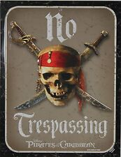 Disney Pirates of the Caribbean No Trespassing Metal Door Sign