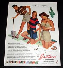 1948 OLD MAGAZINE PRINT AD, JANTZEN SUNCLOTHES, TAILORED FOR ACTION, SUMMER ART!