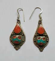 Asian  sterling silver earrings Tibetan Turquoise and coral Tibetan jewelry E2