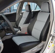 TOYOTA CAMRY 2012-2016 BLACK/GREY IGGEE S.LEATHER CUSTOM FIT FRONT SEAT COVER