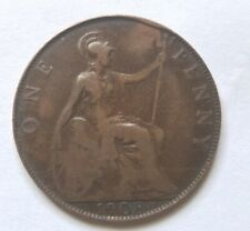 1908 Penny Uk Great Britain Edwardvs Vii King Edward