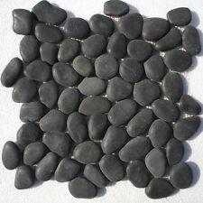 Flussstein Kieselstein Mosaik Fliesen Dunkelgrau