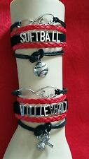 Adjustable Custom Sports Leather Bracelet - Softball - Volleyball - Cheer #243