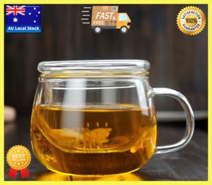 Flat Cover Small Glass Tea Cup With Infuser Tea Maker Water Cup Coffee Mug 300ml