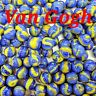 "Marbles 35 Van Gogh by Mega Vacor Marbles 9/16"" Sweet Color Combo, Collectible"