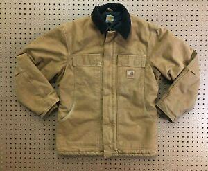 MENS SMALL - Vtg Carhartt C26 Sandstone Arctic Quilted Coat Jacket