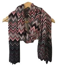 Missoni Chevron Knitted Scarf In Warm Burgundy Pink and Black Pure Wool  NEW