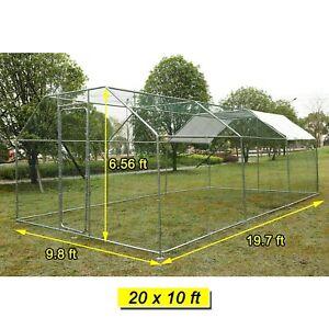 20x10 ft Walk in Metal Coop Chicken Run Backyard Hen House Poultry Habitat Cage