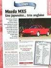 Mazda MX5 1989 Japan Japon Car Auto FICHE FRANCE