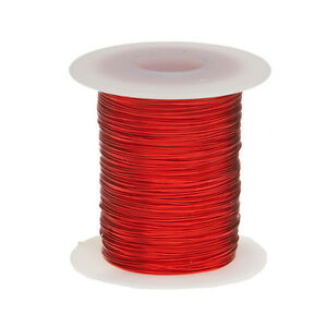 "24 AWG Gauge Enameled Copper Magnet Wire 2 oz 100' Length 0.0211"" 155C Red"