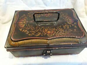 Antique Toleware Painted Tin Spice Box Set