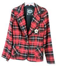 Makers of True Originals Womens Jacket L Red Plaid Prep School Blazer Cosplay