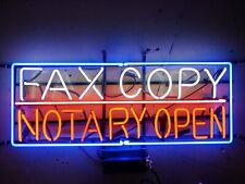 "New Fax Copy Notary Open Neon Light Sign 24""x20"" Lamp Poster Real Glass"