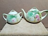 VINTAGE RS GERMANY TEA POT and SUGAR SET w/ROSES and Gold Trim Blue Mark