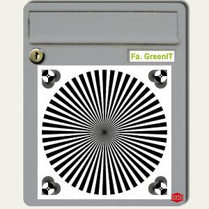 Aufkleber 20cm Siemensstern Weißabgleich Graukarte Fadenkreuz Fokus Test Chart