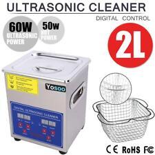 2L Lavatrici Pulitore Ad Ultrasuoni Digitale + Coperchio in acciaio inox + cesto