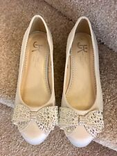 Marylebone London Ballerinas Flats Size 4 Ivory Satin Women's Shoes Wedding