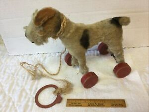 Antique Steiff Mohair Terrier Dog on 4 Red Wooden Wheels Pull Toy Glass Eyes