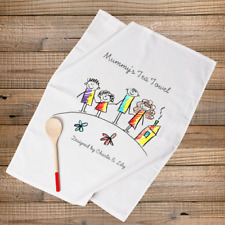 PERSONALISED TEA TOWEL MUM DAD NAN AUNTIE GIFT- YOUR CHILDS OWN DRAWING.