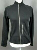 IBEX S Womens Zip Front Sweater Black 100% Merino Wool Fitted