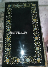 4'x2' Black Marble Rare Dining Table Top Inlay Outdoor Dining Table Deco H3225