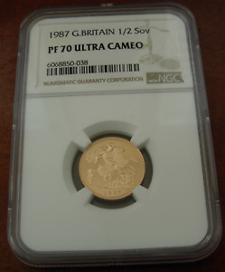 Great Britain 1987 Gold 1/2 Sovereign NGC PF70UC