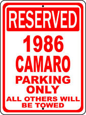 "1986 86 Camaro Chevy Novelty Reserved Parking Street Sign 12""X18 Aluminum"""