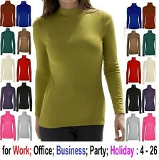 LADIES LONG SLEEVE POLO NECK ROLL NECK TOP WOMENS TURTLE NECK JUMPER 6-22 'pol