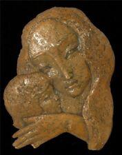 Vintage Hand Made Ceramic Wall Decor Art Work Sculpture Mother & Child Signed