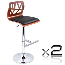 Set of 2 Black PU Leather Wooden Kitchen Bar Stool Gas Lift Dining Chair