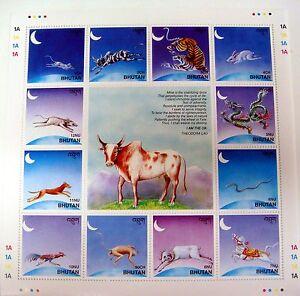 BHUTAN 1997 MNH LUNAR NEW YEAR CALENDAR STAMP SHEET YEAR OX WILD ANIMALS DRAGON