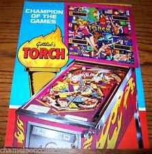 Gottlieb 1980 TORCH Original NOS Flipper Game Pinball Machine Promo Sales Flyer
