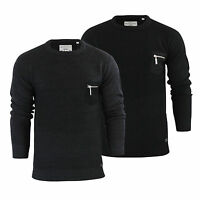 Mens Jumper Brave Soul Vulcan Rib Knitted Crew Neck With With Chest Pocket