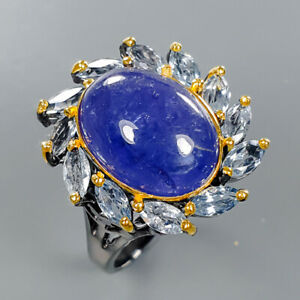 Tanzanite Ring Silver 925 Sterling Vintage14x11mm Size 8.25 /R133325