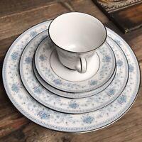 Noritake Blue Hill 5 PC Setting Vintage Dinnerware Fine China 2482 plates teacup