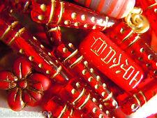 Schicke, lange goldgeprägte Tube-Perlen in Ruby Red Gold -12Stk.- 24x5-7mm