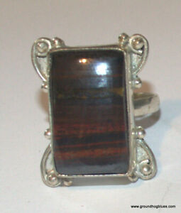 Large Sterling Silver Red Tiger Eye Art to Wear Ring  9