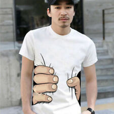 Verano Hombre 3D Mano Camiseta Estampada Moda Manga Corta Casual Tops Blusa