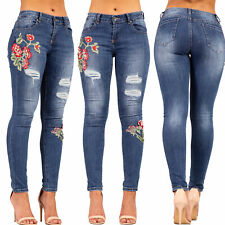 Womens Ripped Jeans Ladies Rose Embroidered Skinny Denim Jeans Size 6-14