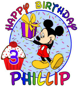 MICKEY MOUSE BIRTHDAY T-SHIRT Personalized Any Name/Age PINK or BLUE Background