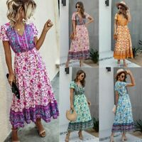 Loose women's Dress Party V Neck Casual Women Floral Dresses Maxi Long Sleeve