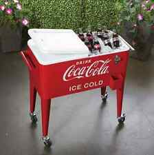 COCA COLA METAL COOLER ICE CHEST, 80-QT VINTAGE RETRO STYLE, ROLLING