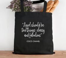 Designer Inspired Coco Quote Black Cotton Tote Bag Shopper - Can Be Personalised