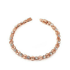 Awesome Holiday Gift Multi White Topaz Gemstone Rose Gold Plated Wheat Bracelets